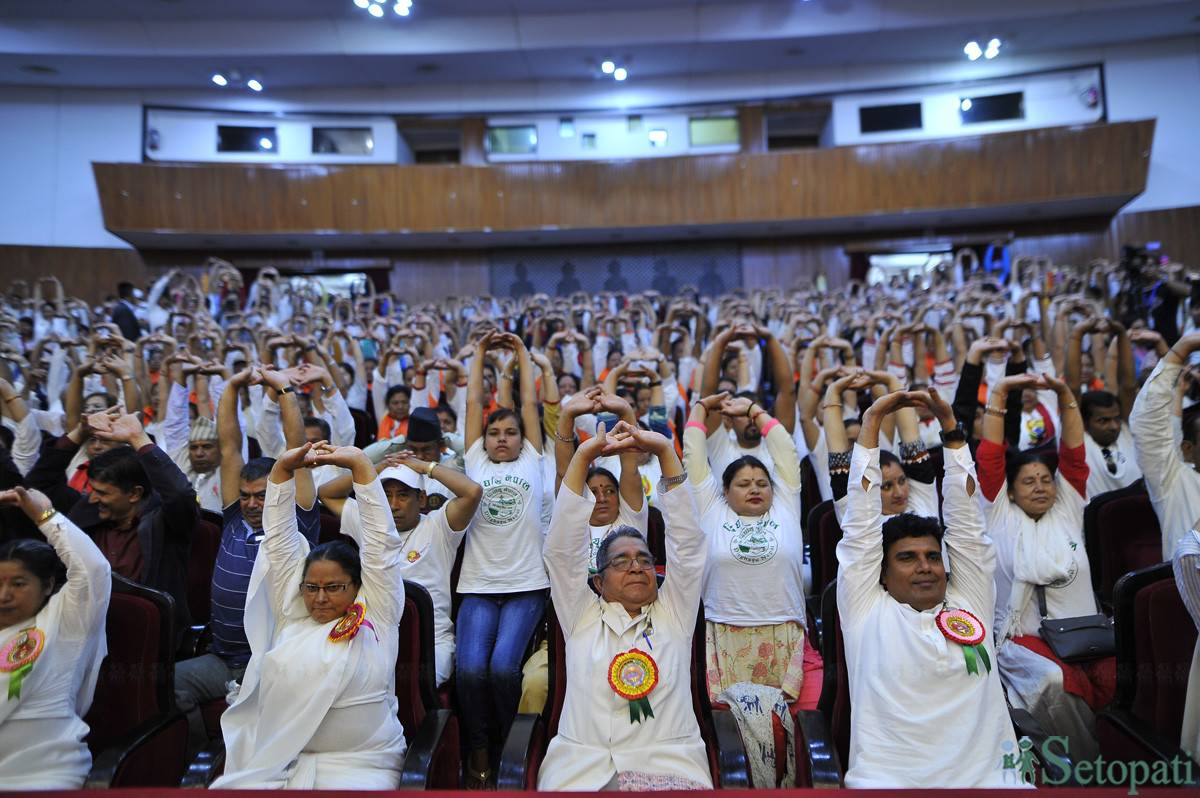 People practicing yoga at Rastriya Sabha Griha on Friday. The International Yoga Day started to be celebrated from June 21, 2015 as per a decision taken in 2014 by the United Nations Organization's General Assembly