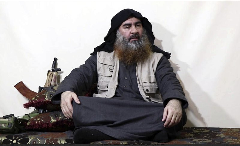 This file image made from video posted on a militant website April 29, 2019, purports to show the leader of the Islamic State group, Abu Bakr al-Baghdadi being interviewed by his group's Al-Furqan media outlet.