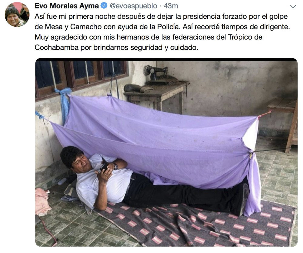This screen grab of a tweet posted on the account of Bolivia's former President Evo Morales on Monday, Nov. 11, 2019, shows him lying on the floor at an undisclosed location.