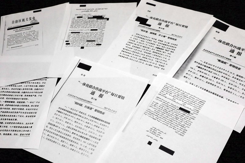 A sample of classified Chinese government documents leaked to a consortium of news organizations, is displayed for a picture in New York, Friday, Nov. 22, 2019.