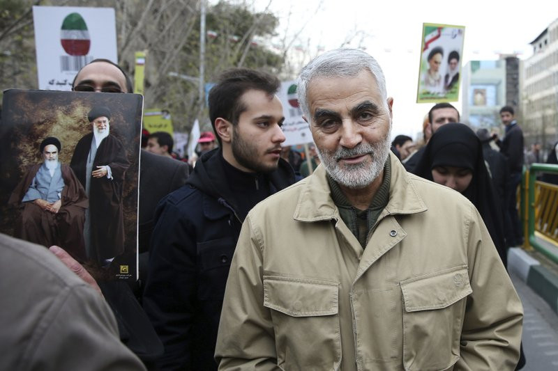 In this Thursday, Feb. 11, 2016, file photo, Qassem Soleimani, commander of Iran's Quds Force, attends an annual rally commemorating the anniversary of the 1979 Islamic revolution, in Tehran, Iran.