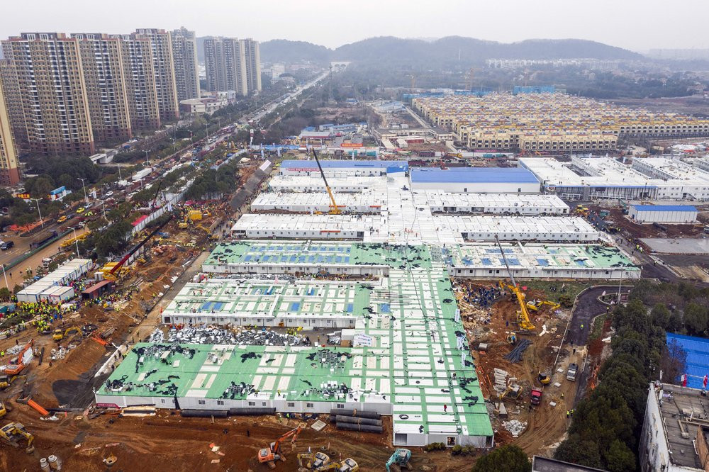 The Huoshenshan temporary field hospital under construction is seen as it nears completion in Wuhan in central China's Hubei Province, Sunday, Feb. 2, 2020.