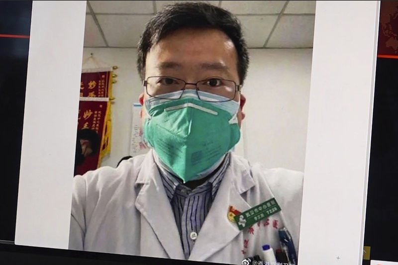This image from video, shows a selfie of Dr. Li Wenliang. The Chinese doctor who got in trouble with authorities in the communist country for sounding an early warning about the coronavirus outbreak died Friday after falling ill.