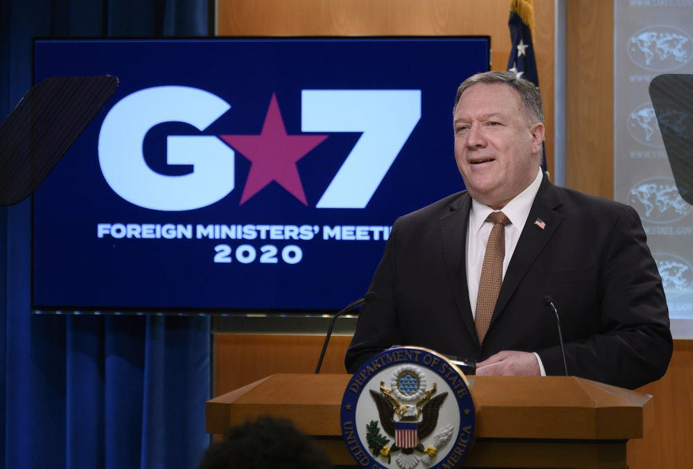Secretary of State Mike Pompeo speaks during a news conference at the State Department on Wednesday, March 25, 2020, in Washington.