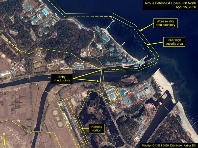 This Wednesday, April 15, 2020, satellite image provided by Airbus Defence & Space and annotated by 38 North, a website specializing in North Korea studies, shows overview of Wonsan complex in Wonsan, North Korea.