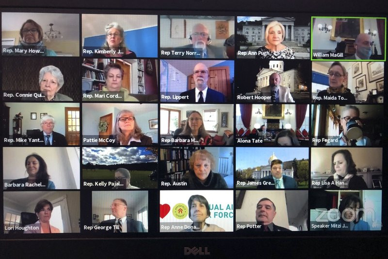 In this April 23, 2020 file photo, members of the Vermont House of Representatives convene in a Zoom video conference for its first full parliamentary online session in Montpelier.