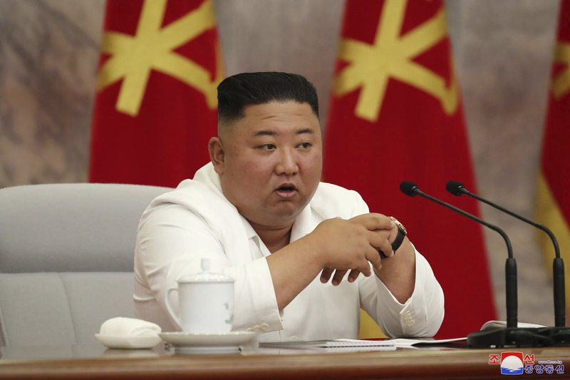 In this photo provided by the North Korean government, North Korean leader Kim Jong Un attends a Politburo meeting of the Central Committee of the Workers' Party of Korea in Pyongyang, North Korea Thursday, July 2, 2020.