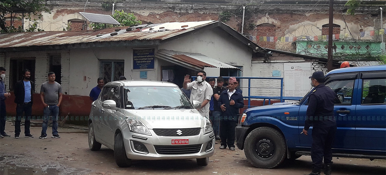Former APF DIG Ranjan Koirala getting into a car upon his release on Thursday.