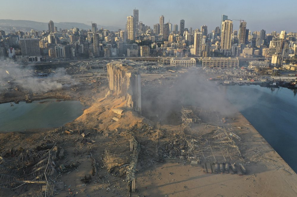 A drone picture shows the scene of an explosion at the seaport of Beirut, Lebanon, Wednesday, Aug. 5, 2020.