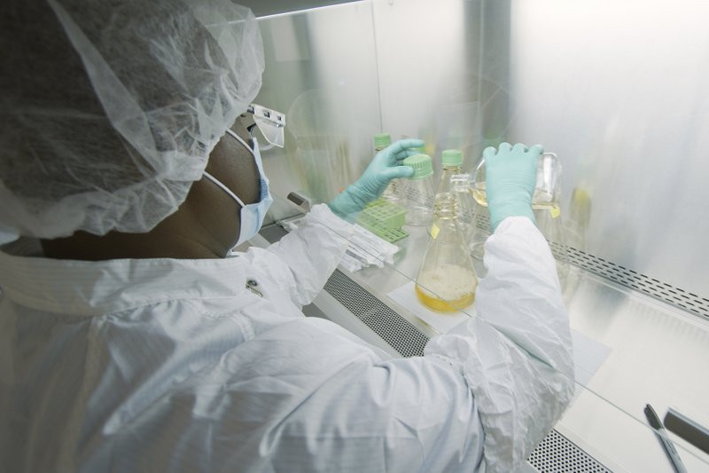 In this May 2020 photo provided by Eli Lilly, a researcher tests possible COVID-19 antibodies in a laboratory in Indianapolis.