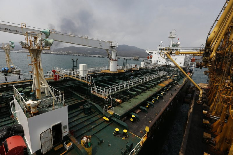 In this May 25, 2020 file photo, the Iranian oil tanker Fortune is anchored at the dock of the El Palito refinery near Puerto Cabello, Venezuela.