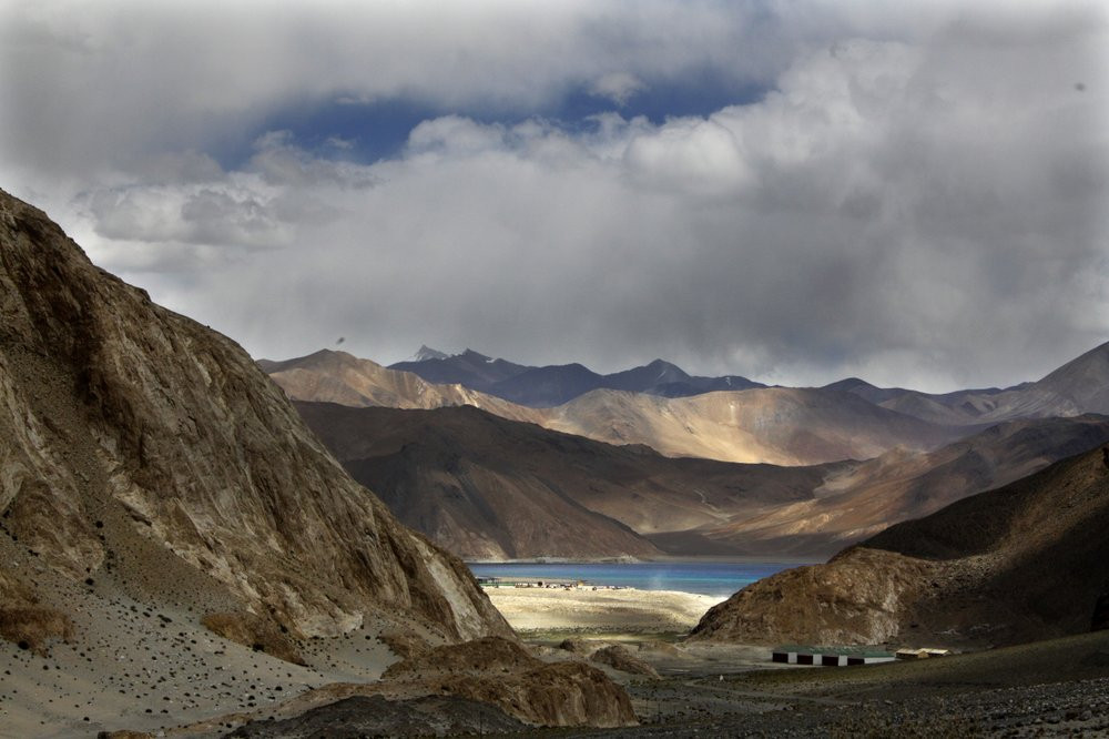 In this Sept. 14, 2017, file photo, Pangong Tso lake is seen near the India China border in India's Ladakh area.