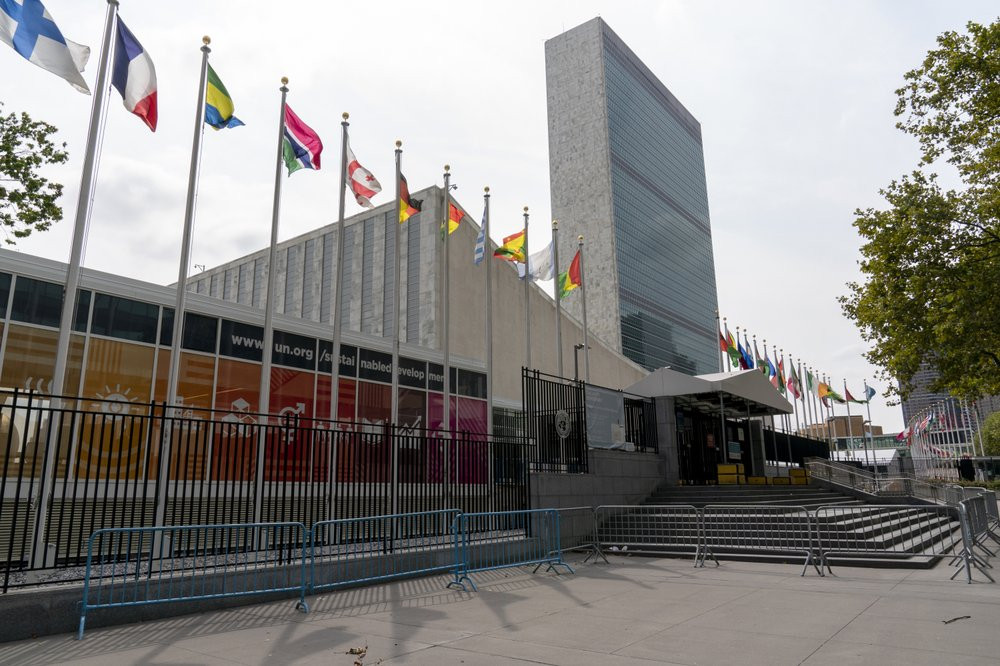 Metal barricades line the the shuttered main entrance to the United Nations headquarters, Friday, Sept. 18, 2020, in New York.