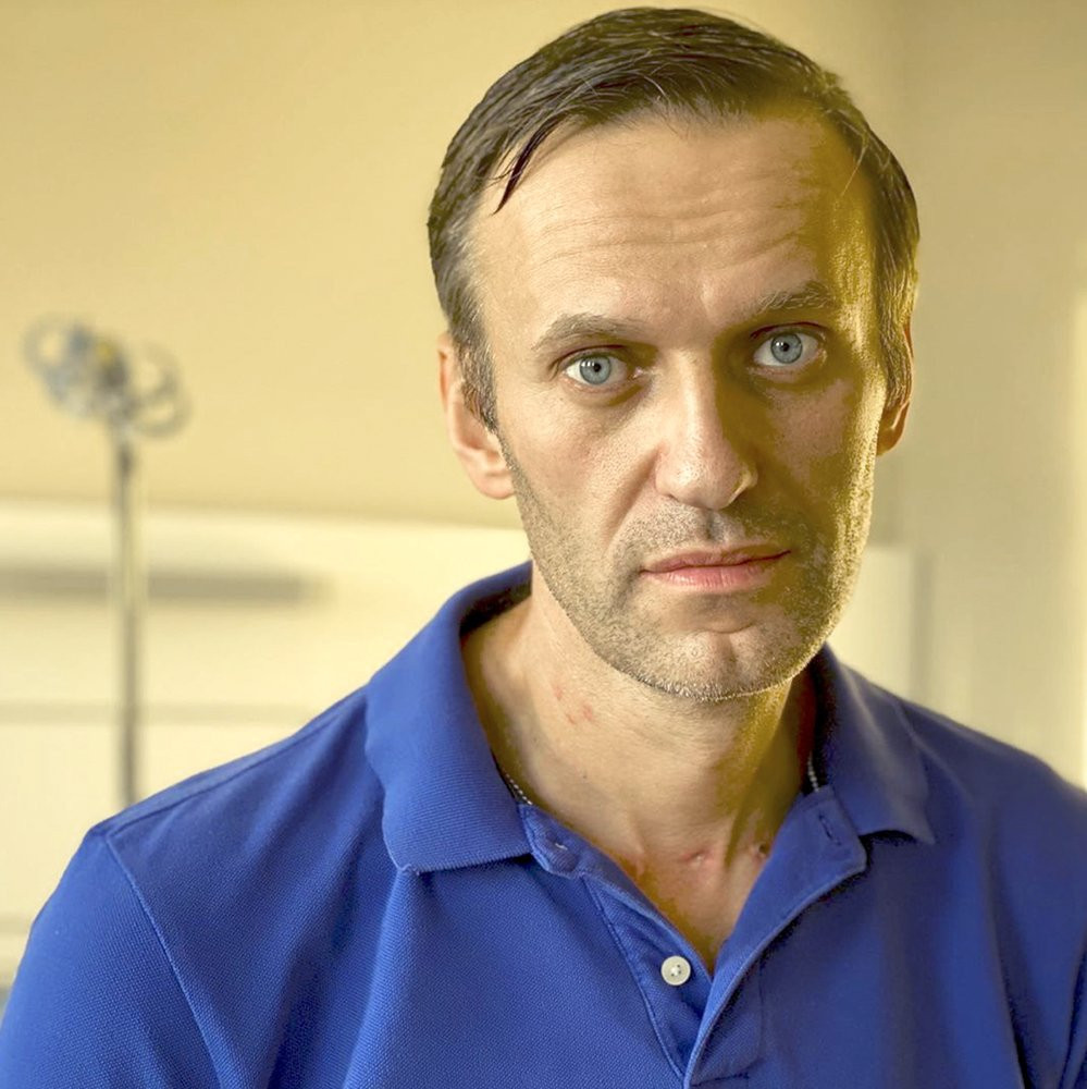 In this handout photo published by Russian opposition leader Alexei Navalny on his instagram account on Tuesday, Sept. 22, 2020, Navalny poses for a photo in a hospital in Berlin, Germany.