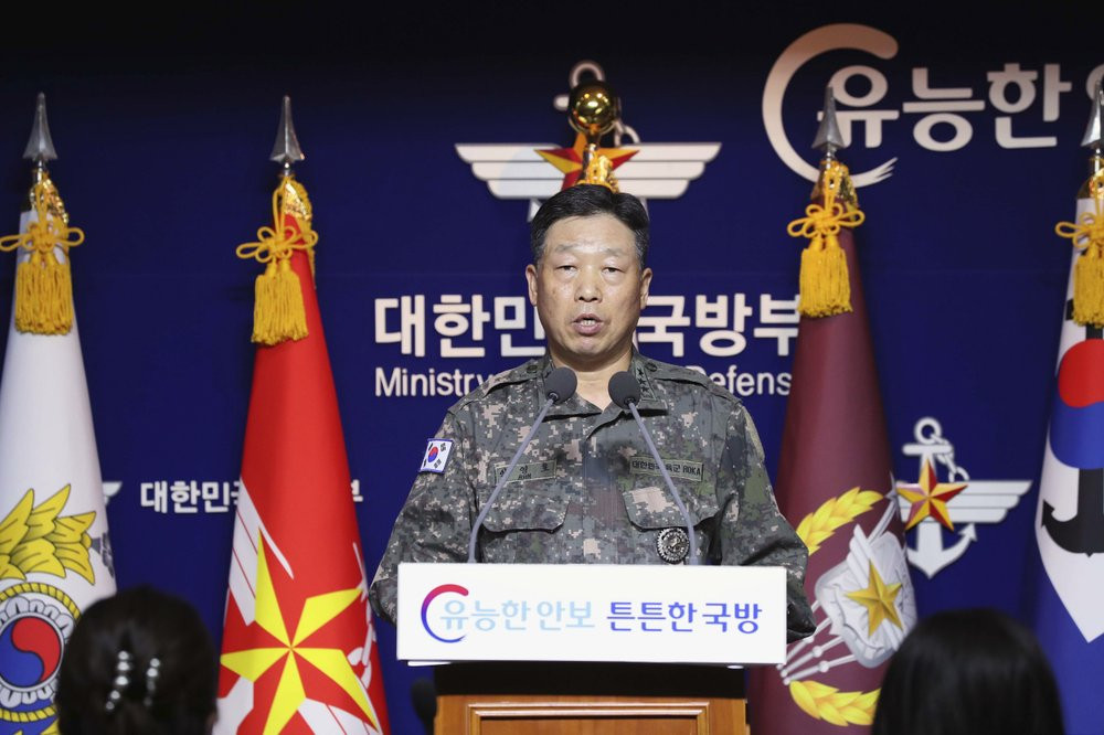 Lt. Gen. Ahn Young Ho, a top official at the South Korean military's office of the Joint Chiefs of Staff, speaks during a press conference at the Defense Ministry in Seoul, South Korea, Thursday, Sept. 24, 2020.