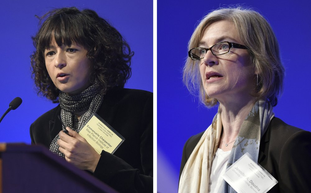 This Tuesday, Dec. 1, 2015 file combo image shows Emmanuelle Charpentier, left, and Jennifer Doudna, both speaking at the National Academy of Sciences international summit on the safety and ethics of human gene editing, in Washington.