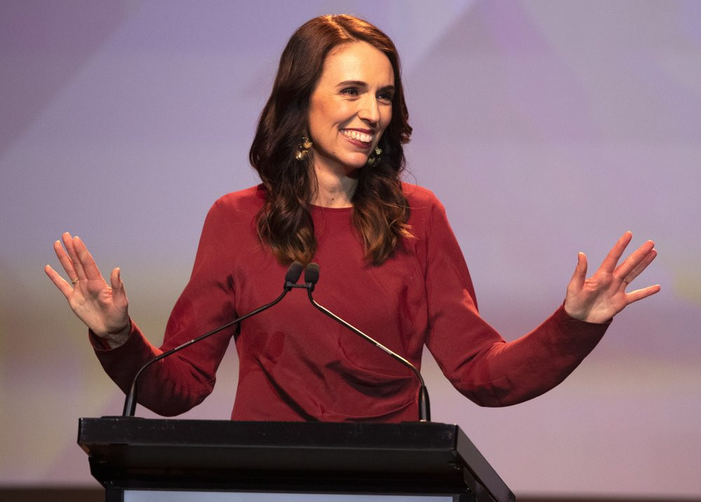New Zealand Prime Minister Jacinda Ardern gestures as she gives her victory speech to Labour Party members at an event in Auckland, New Zealand, Saturday, Oct. 17, 2020.