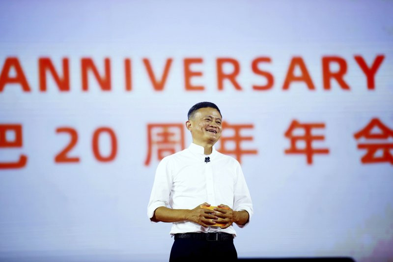 In this Sept. 10, 2019 file photo, Jack Ma, founder of the Alibaba Group, speaks at the company's 20th-anniversary celebration in Hangzhou in eastern China's Zhejiang province.