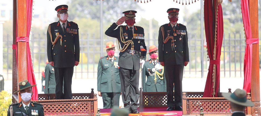 Visiting Indian Army Chief Manoj Mukund Naravane being given guard of honor by the Nepal Army.