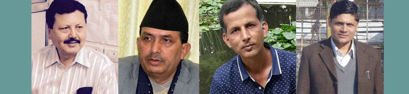 From left: VC Dr Giri, Healh Minister Bhanubhakta Dhakal, minister's brother-in-law Panta and his nephew Dhakal.