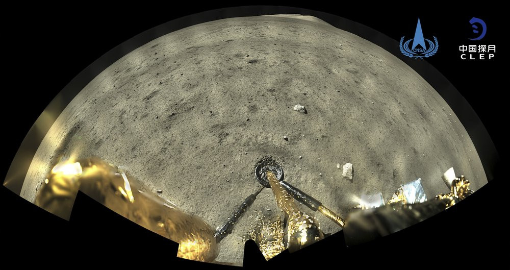 This image taken by panoramic camera aboard the lander-ascender combination of Chang'e-5 spacecraft provided by China National Space Administration shows a moon surface after it landed on the moon on Wednesday, Dec. 2, 2020.