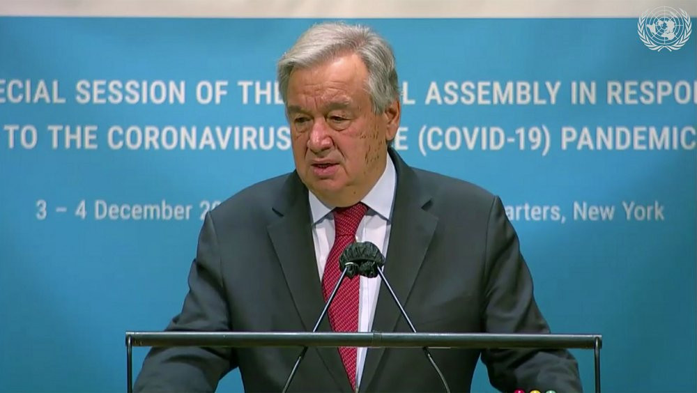 In this image made from UNTV video, United Nations Secretary General Antonio Guterres speaks during the U.N. General Assembly's special session to discuss the response to COVID-19 and the best path to recovery from the pandemic, Thursday.