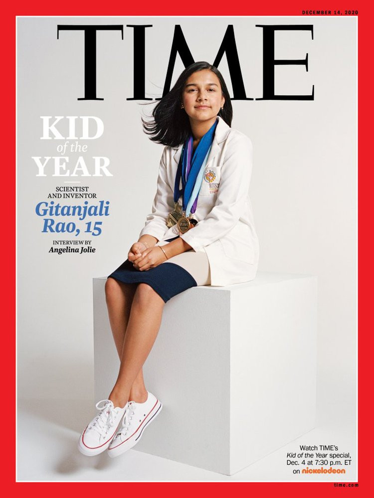 This undated photo provided by Time Magazine shows the cover of its Dec. 14, 2020 issue, featuring a 15-year-old Colorado high school student and young scientist who has been named the magazine's first-ever
