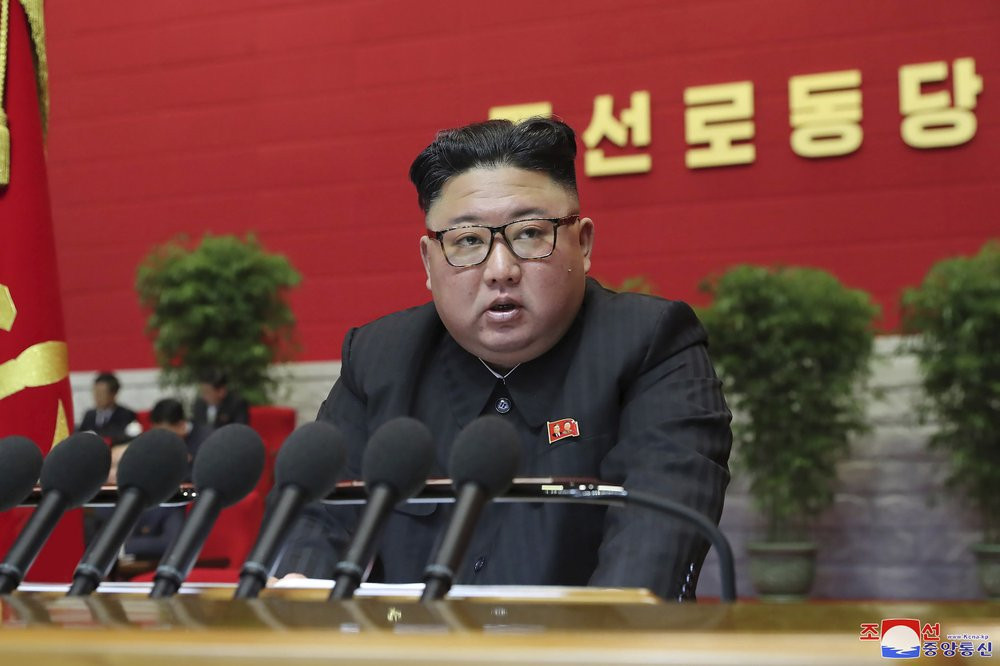 In this photo provided by the North Korean government, North Korean leader Kim Jong Un attends a ruling party congress in Pyongyang, North Korea Thursday, Jan. 7, 2021.