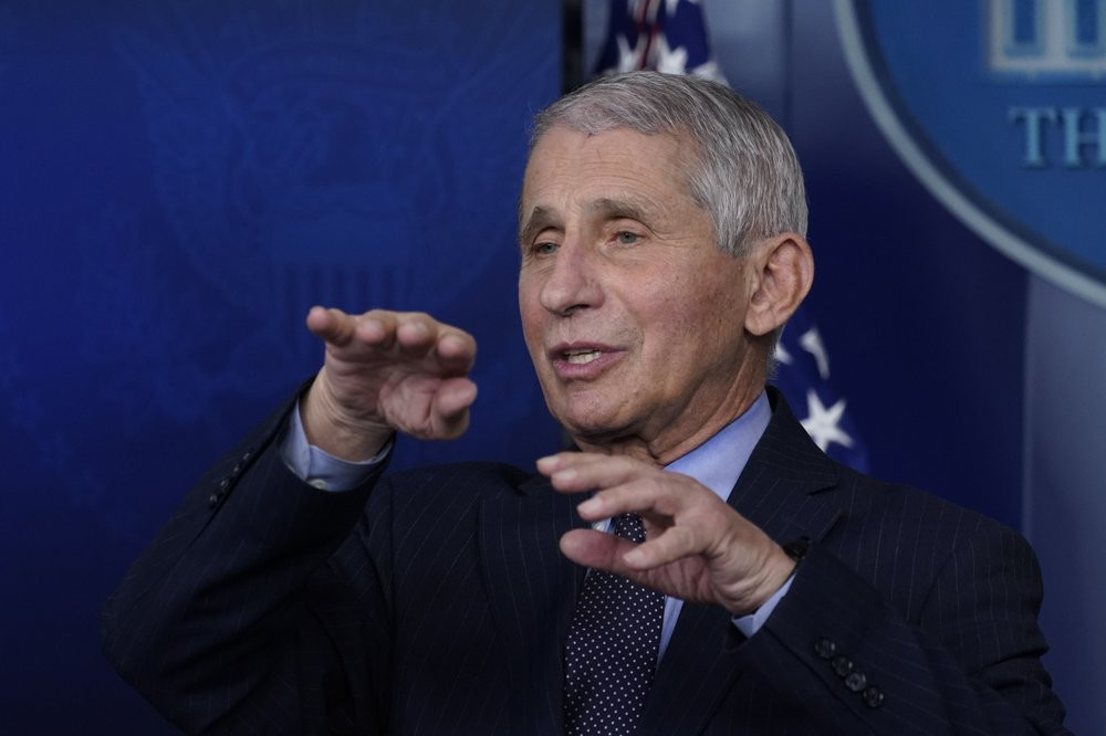 In this Jan. 21, 2021 file photo, Dr. Anthony Fauci, director of the National Institute of Allergy and Infectious Diseases, speaks with reporters at the White House, in Washington.
