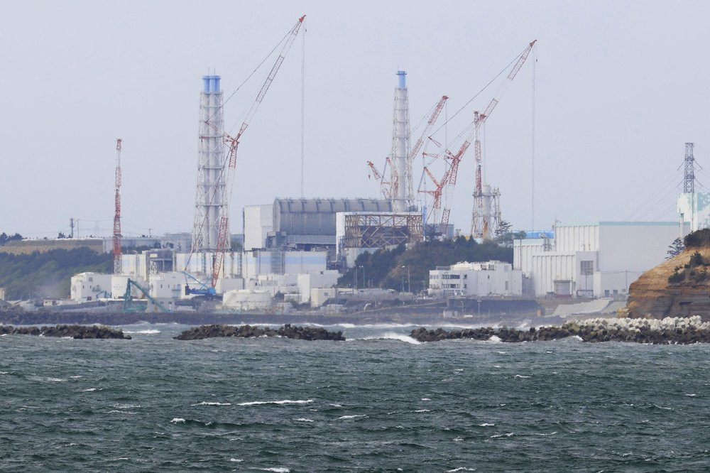 Fukushima Daiichi nuclear power plant is seen from Namie town, Fukushima prefecture, north of Tokyo, Tuesday, April 13, 2021.