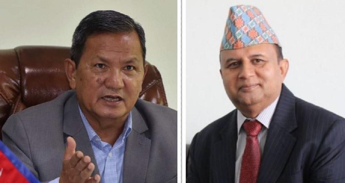 CMs Gurung (l) and Pokharel