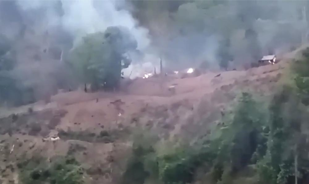 In this image made from video by the Transborder News, smoke rises from a Myanmar Army camp near the border of Myanmar and Thailand Tuesday, April 27, 2021.