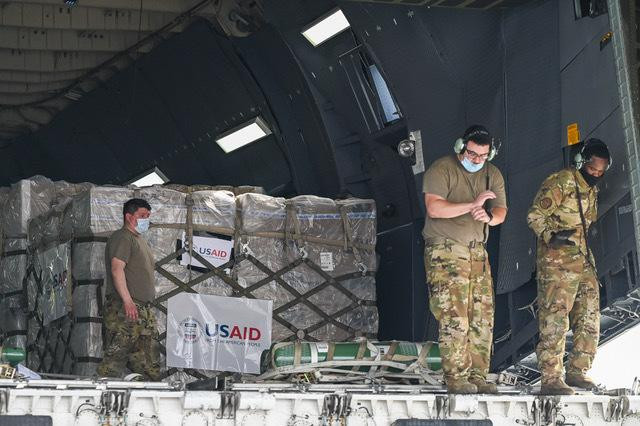 Relief supplies from the United States in the wake of India's COVID-19 situation arrive at the Indira Gandhi International Airport cargo terminal in New Delhi, India, Friday, April 30, 2021.