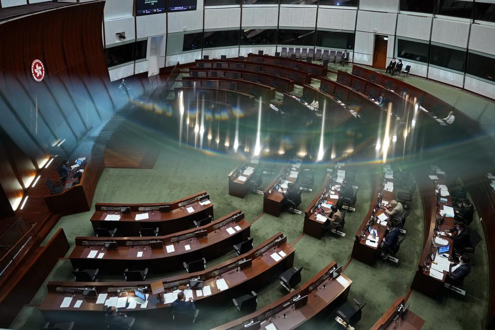 Pro-China lawmakers attend the second meeting of