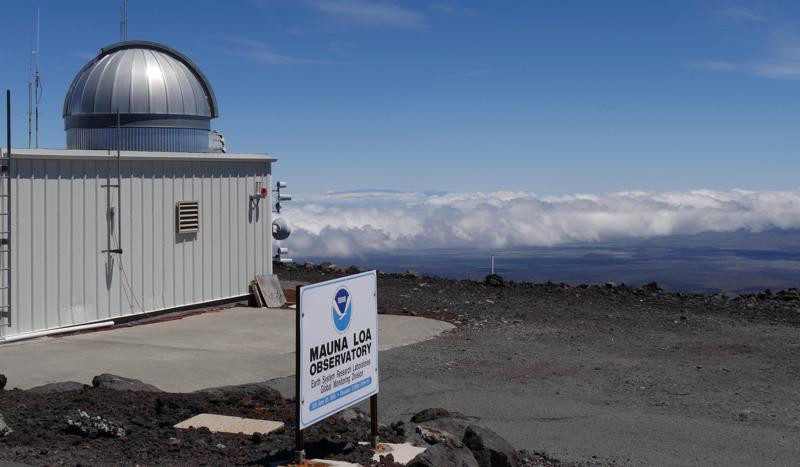 This 2019 photo provided by NOAA shows the Mauna Loa Atmospheric Baseline Observatory, high atop Hawaii's largest mountain in order to sample well-mixed background air free of local pollution.