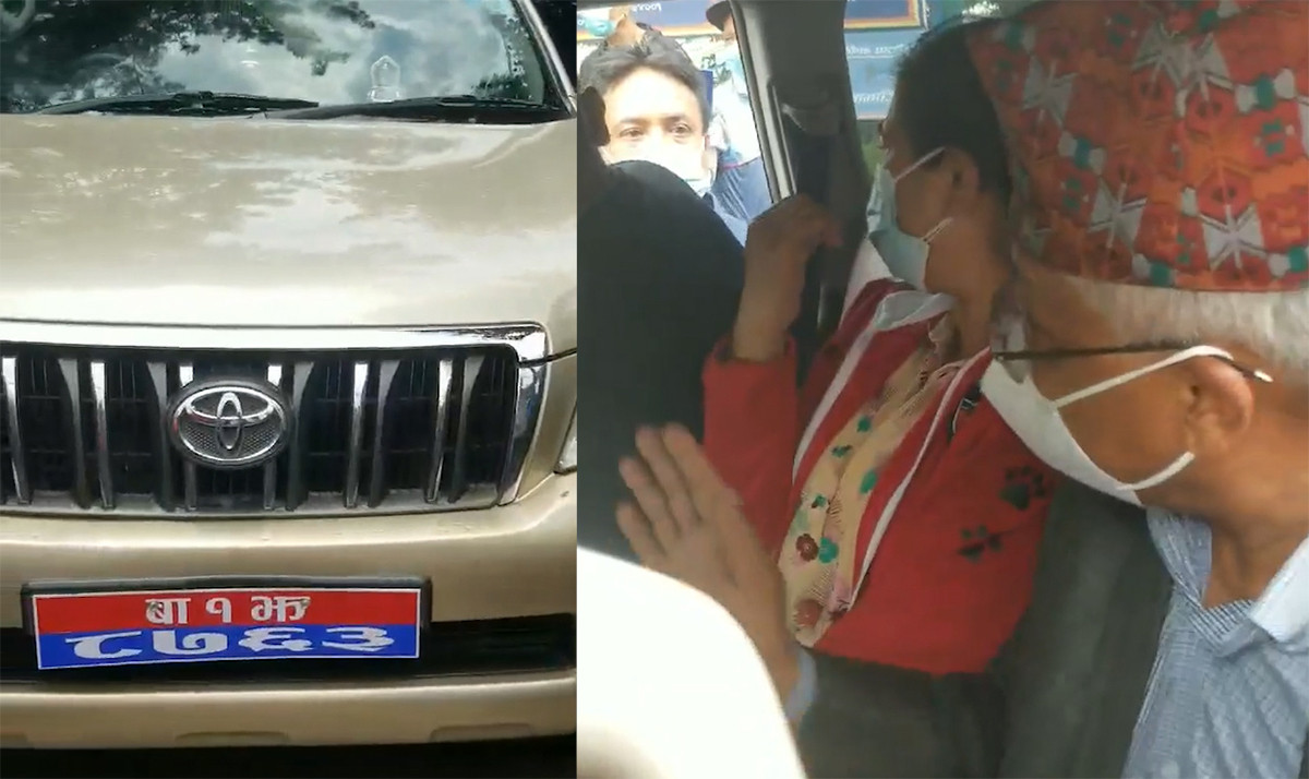 Accused woman with Minister Shrestha on his official vehicle.