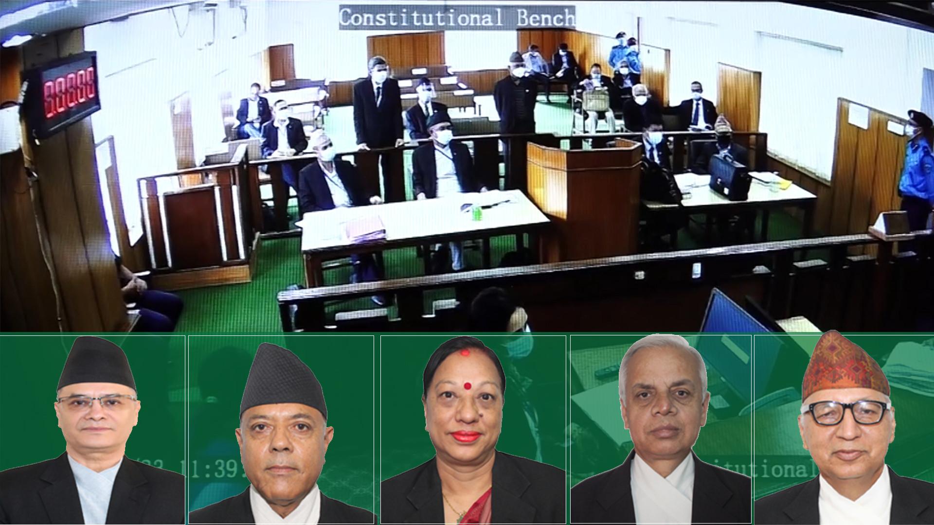 (From L) CJ Rana and Justices Karki, Khadka, Khatiwada and Bhattarai.