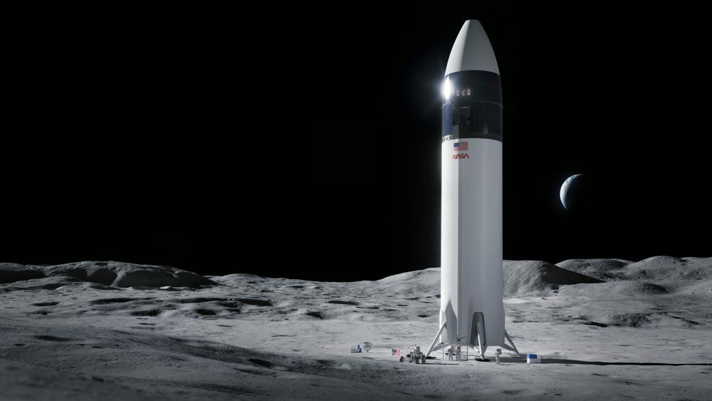 This is an illustration provided by SpaceX shows the SpaceX Starship human lander design that will carry the first NASA astronauts to the surface of the Moon under the Artemis program.