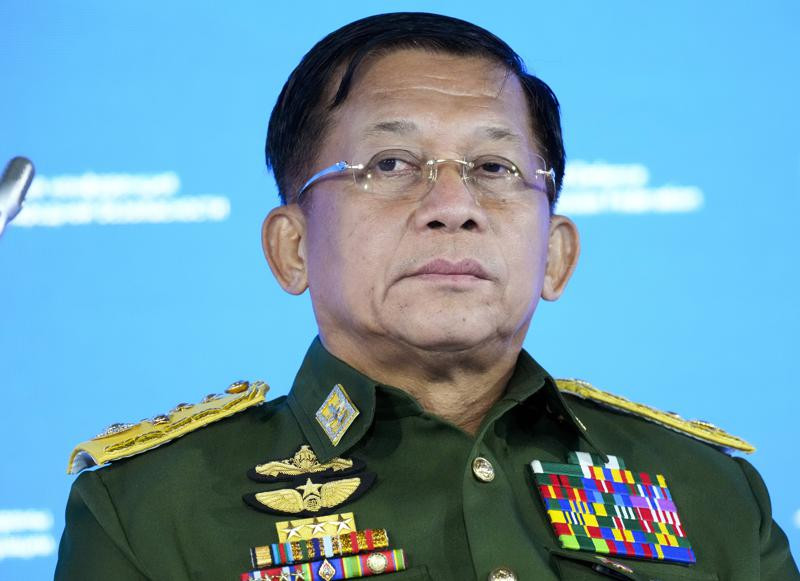 In this June 23, 2021, file photo, Commander-in-Chief of Myanmar's armed forces, Senior General Min Aung Hlaing delivers his speech at the IX Moscow conference on international security in Moscow, Russia.