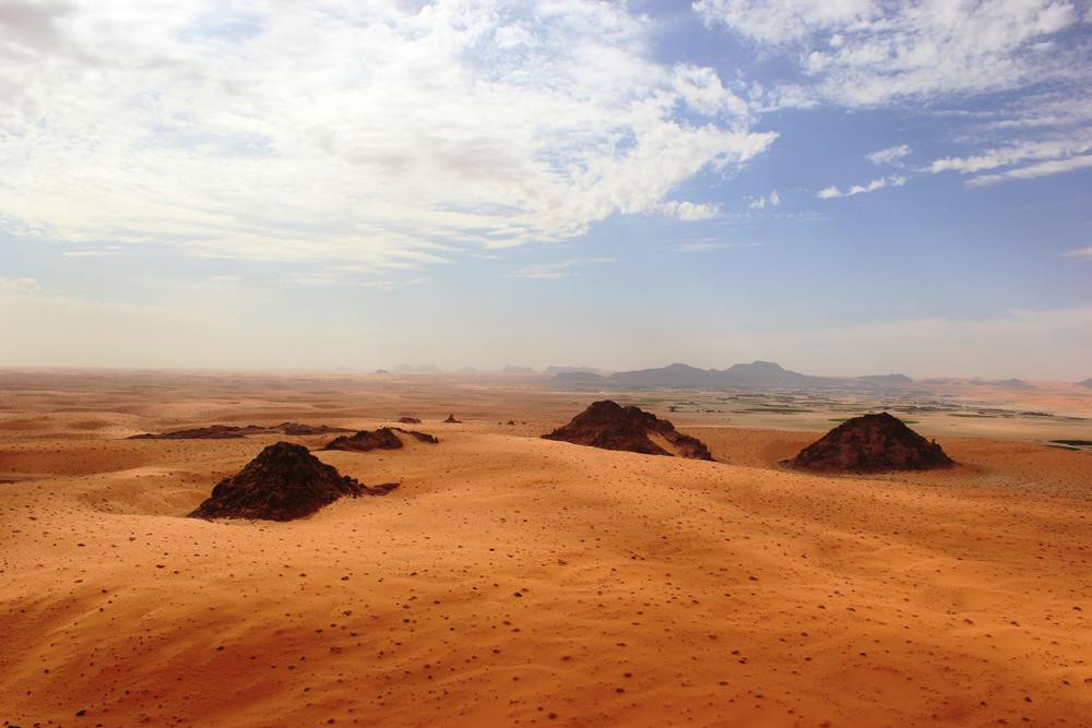 This undated photo provided by the Palaeodeserts Project in September 2021 shows the Jubbah Oasis in northern Saudi Arabia, where humans were repeatedly present during periods of increased rainfall over hundreds of thousands of years.