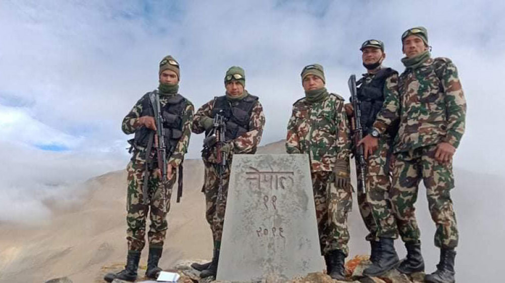 File photo of Nepal Army team after locating the pillar no 11 at teh Chinese border.