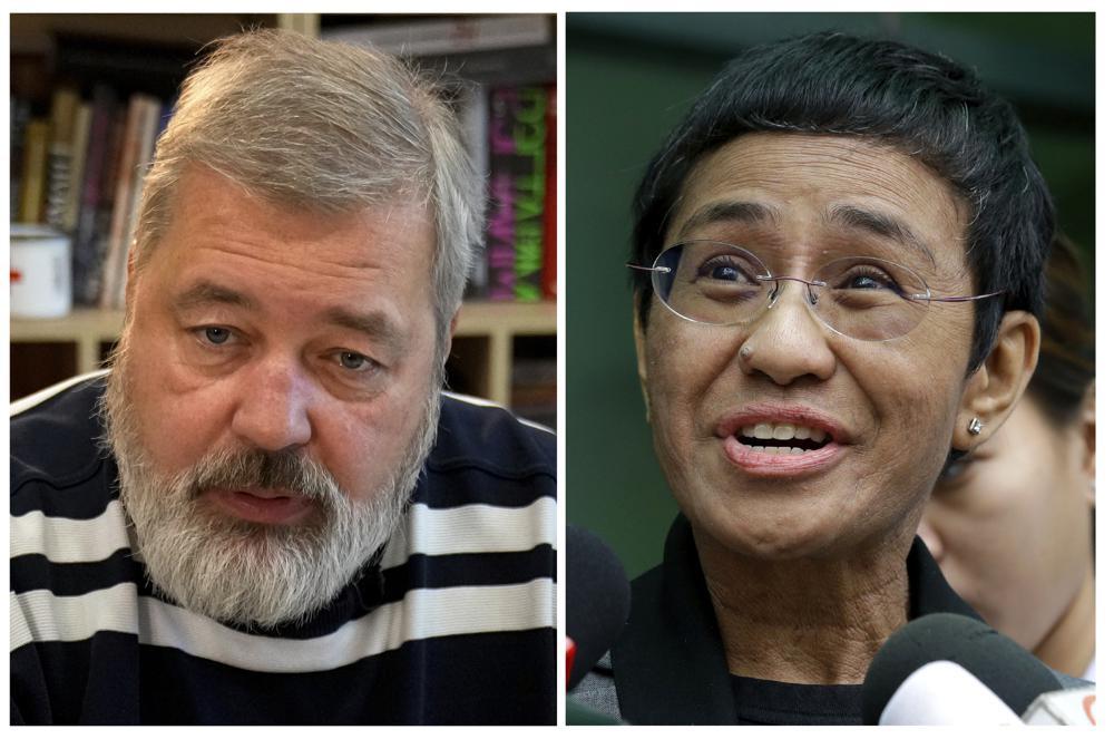 A combo of file images of Novaya Gazeta editor Dmitry Muratov, left, and of Rappler CEO and Executive Editor Maria Ressa.