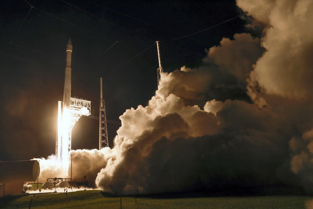 A United Launch Alliance Atlas V rocket carrying the LUCY spacecraft lifts off from Launch Complex 41 at the Cape Canaveral Space Force Station, Saturday, Oct. 16, 2021, in Cape Canaveral, Florida.