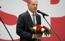 Olaf Scholz, top candidate for chancellor of the Social Democratic Party (SPD), attends a press statement at the party's headquarter in Berlin, Germany, Monday, Sept. 27, 2021.