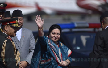 President Bhandari flies to TIA on chopper