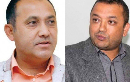 Bishwo Prakash Sharma (L) and Gagan Thapa