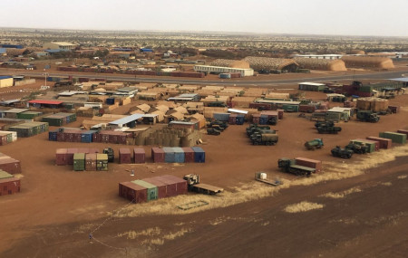 In this photo taken on Friday, Nov. 1, 2019, an aerial view of Goa airport in Mali, where French soldiers have massive presence.