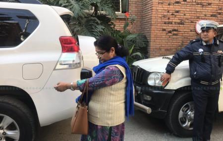 PM Oli's wife Radhika Shakya after meeting him at the hospital.