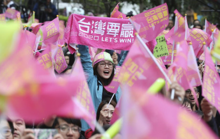 Supporters of Taiwan's presidential election candidate, Taiwan president Tsai Ing-wen cheer for Tsai's victory in Taipei, Taiwan, Saturday, Jan. 11, 2020.