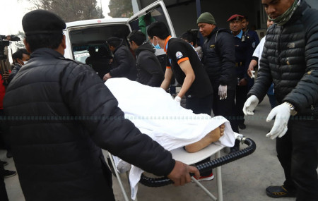 Bodies of the Indian nationals being taken to the TUTH for autopsy on Tuesday. Photo: Nisha Bhandari/Setopati